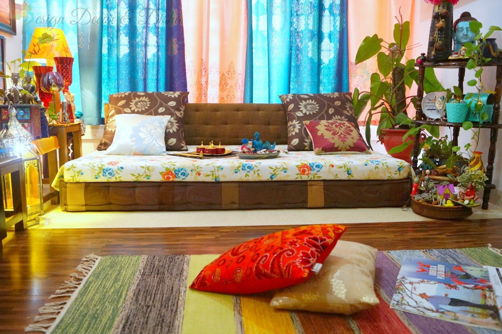 Living Room Low Seating Arrangement #IndianHomeDecor