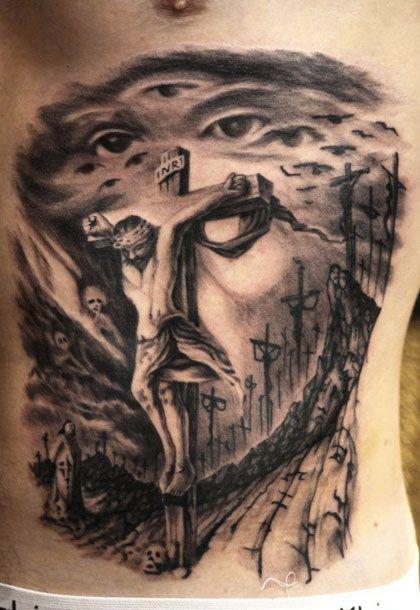 Jesus Tattoo By Tomasz Sugar Cukrowski Krzyż Różaniec