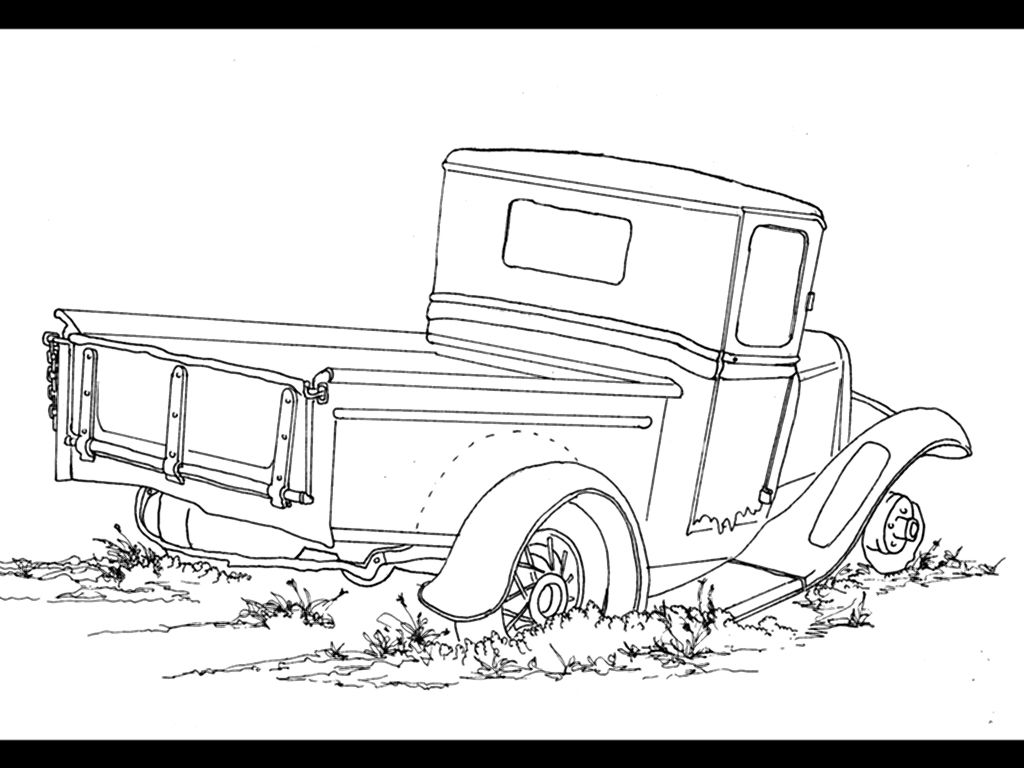 Whitman hot wheels coloring book - Another Old Pickup This Is A Single Line Ink Drawing I Saw This Old