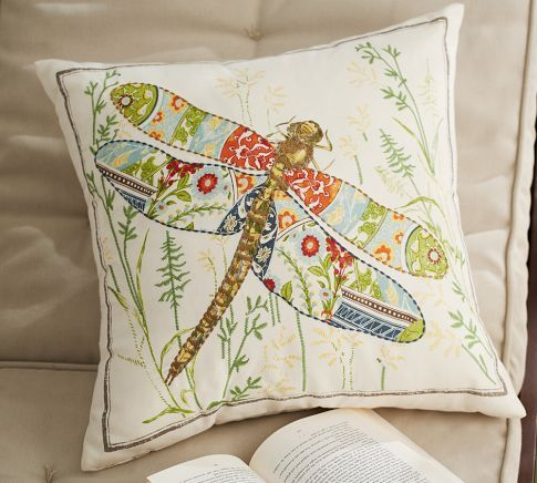 Anna Marie Embroidered Dragonfly Outdoor Pillow Pottery