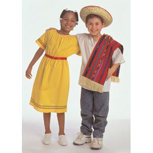 Girls Boys Kids Childrens Mexican Bandit Poncho Fancy Dress Outfit Accessory
