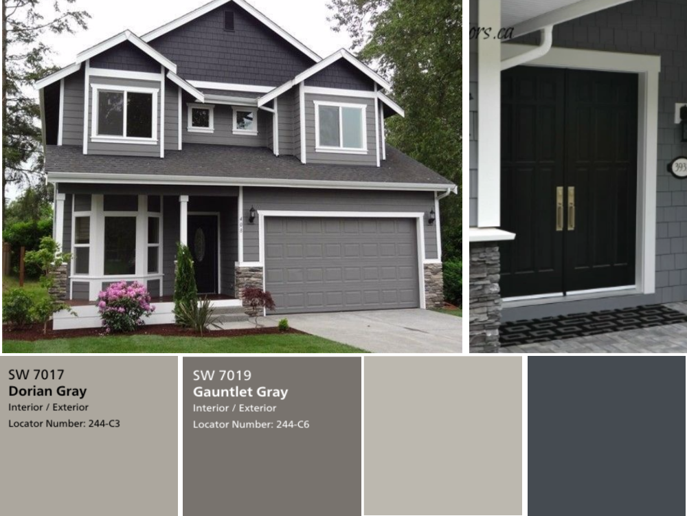 We have the exterior painted already with Sherwin Williams Dorian Gray for the siding and Gauntlet Gray for the brick. We had picked Black Fox for the front door and garage door but now that the house is painted it seems too dark? Please help should we do the front door with a walnut stain and the garage door match the siding which is a Dorian Gray? Or should we do Black Fox and keep it dark?