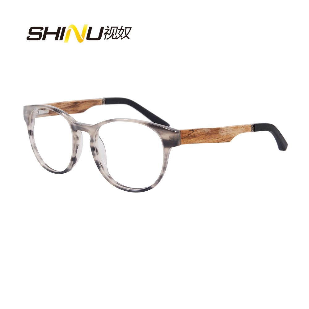 6f2f3a49ba Retro Round Wooden Legs Computer Reader Anti Blue Light Reading Eyeglasses  Noline Progressive Multifocal Reading Glasses ZF110