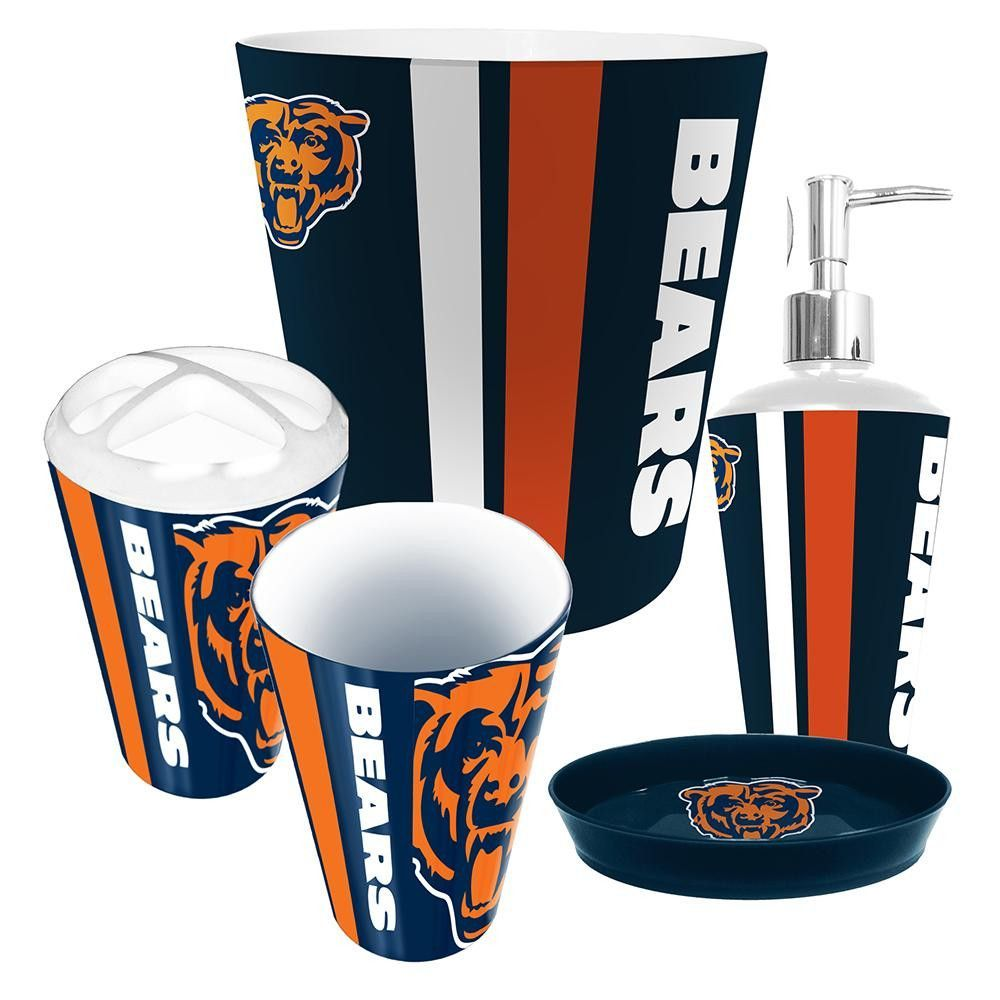 Chicago Bears Nfl Complete Bathroom Accessories 5pc Set