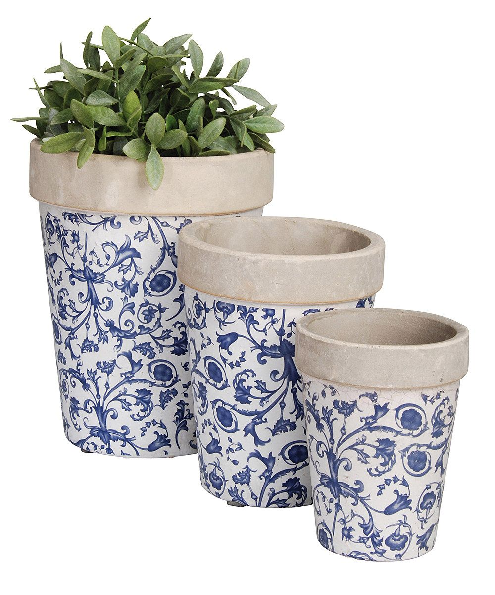 Look at this Blue Floral Round Ceramic Flower Pot Set on #zulily today!