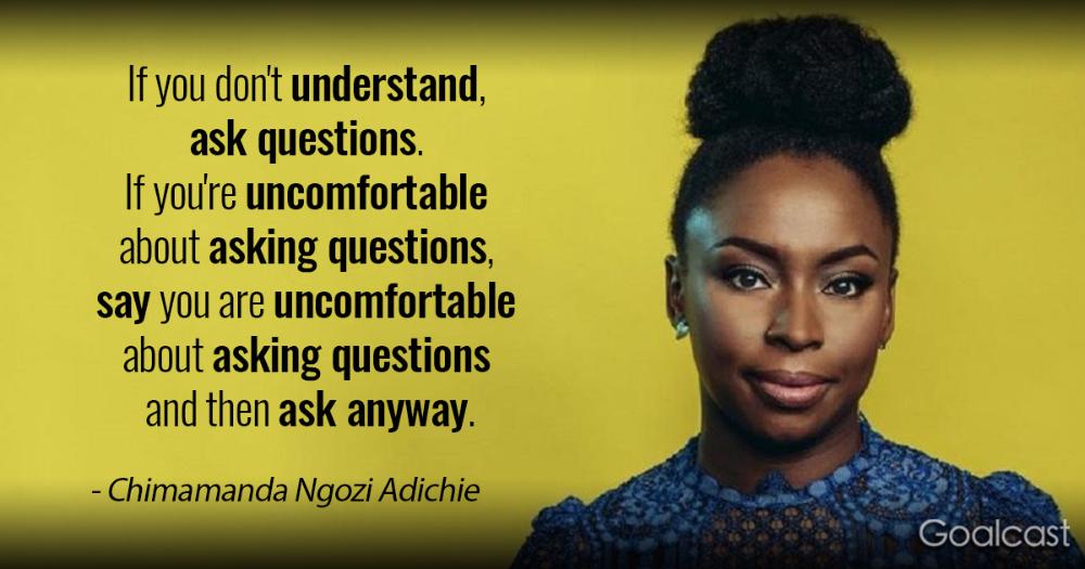Chimamanda Ngozi Adichie on asking questions - Goalcast
