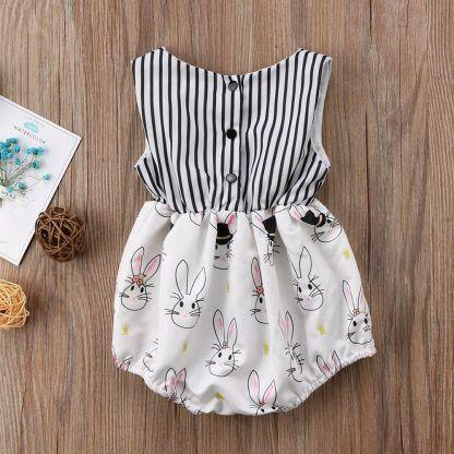 d62414875145 Ribbon   Printed Rabbit Baby Girl Summer Romper