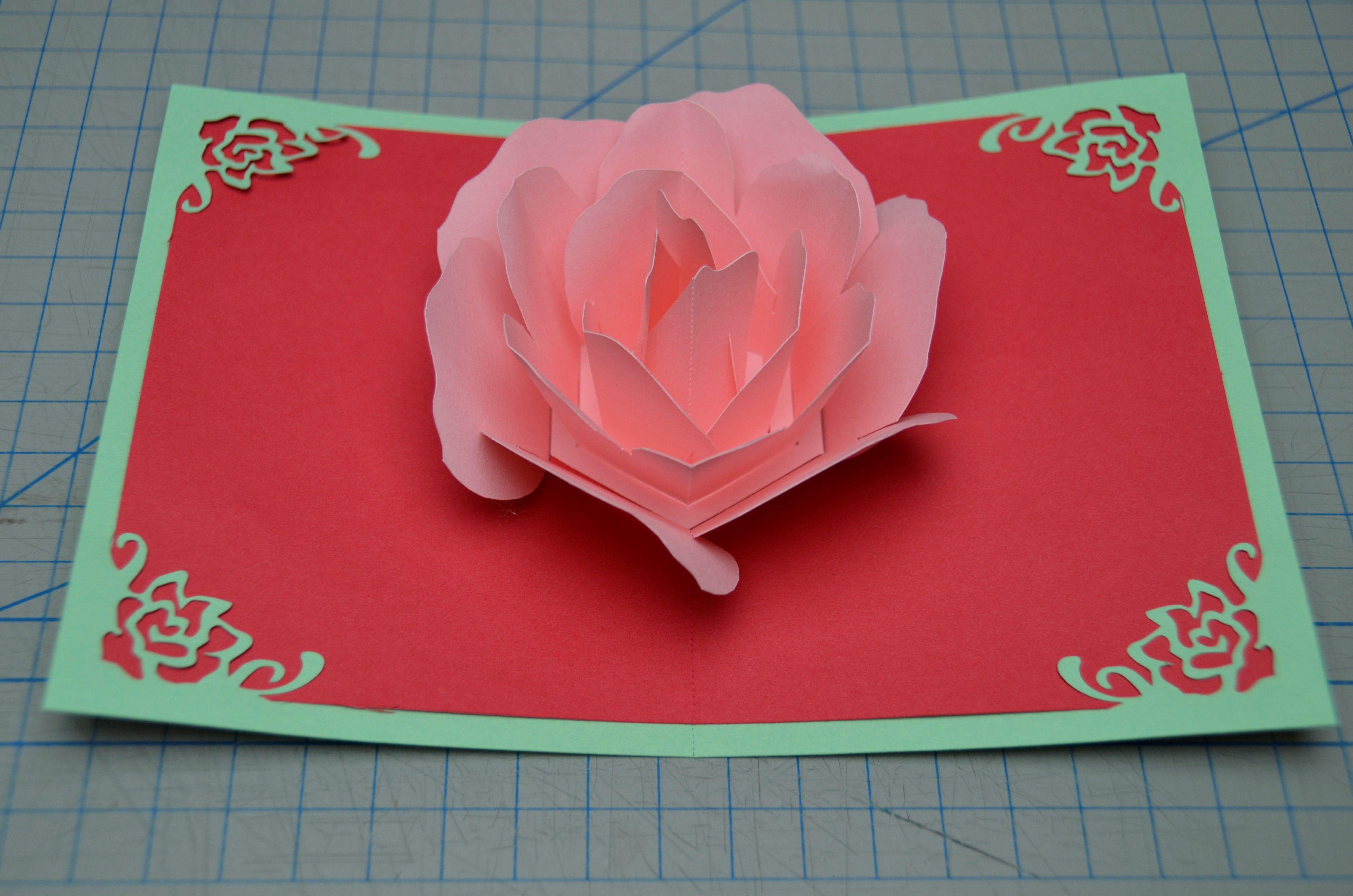 Rose Flower Pop Up Card Tutorial Creative Pop Up Cards Pop Up Cards Pop Up Christmas Cards Diy Pop Up Cards
