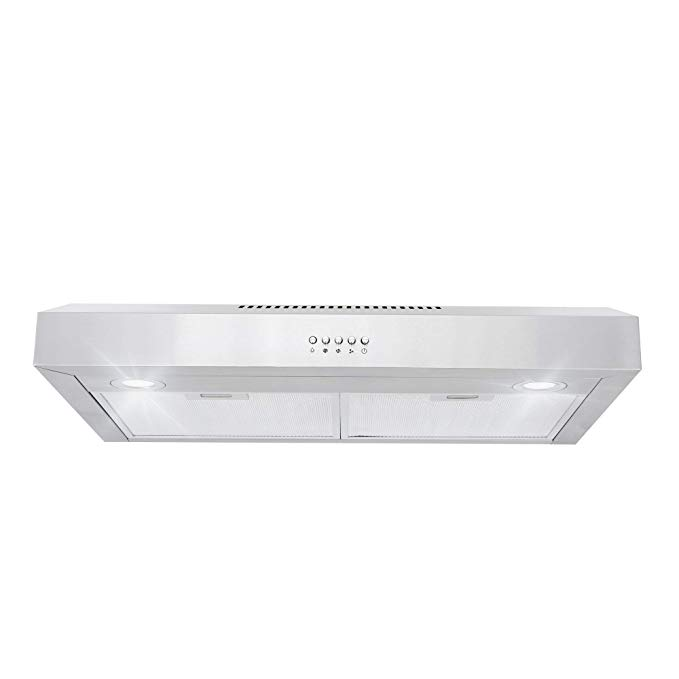 Amazon Com Cosmo 5u30 30 In Under Cabinet Range Hood 250 Cfm With Ducted Ductless Convertible Top Back Duct Slim Kitchen Over Stove Vent Led Light Range Hood