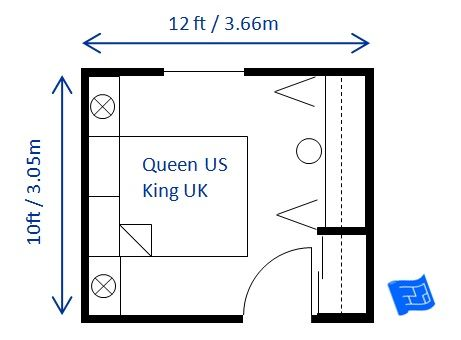 This is 10ft x 12ft x guest bedroom doubling for 10ft by 10ft room