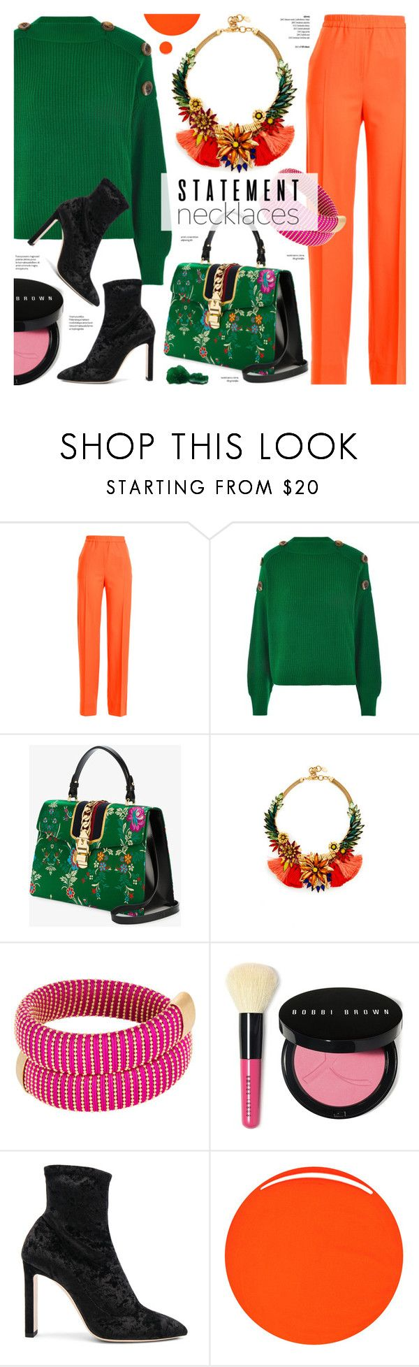 """Street style - Statement necklaces"" by cly88 ❤ liked on Polyvore featuring Jil Sander, Topshop, Gucci, Elizabeth Cole, Bobbi Brown Cosmetics, Jimmy Choo and RGB Cosmetics"