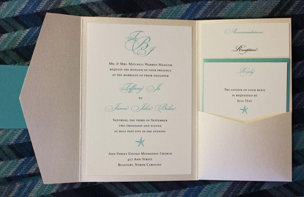 Wedding Pocketfold Invitations: Tiffany Blue & Champagne Starfish & Monogram Metallic