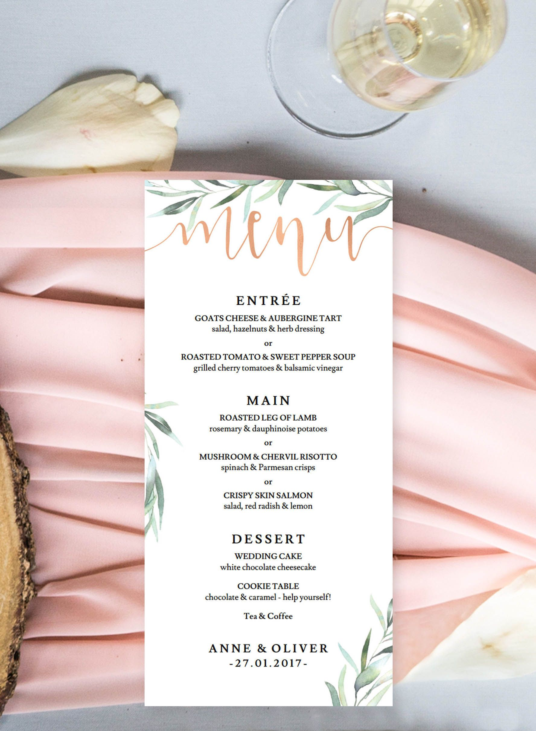 Rose Gold Menus With Eucalyptus Greenery Printed And Shipped To You