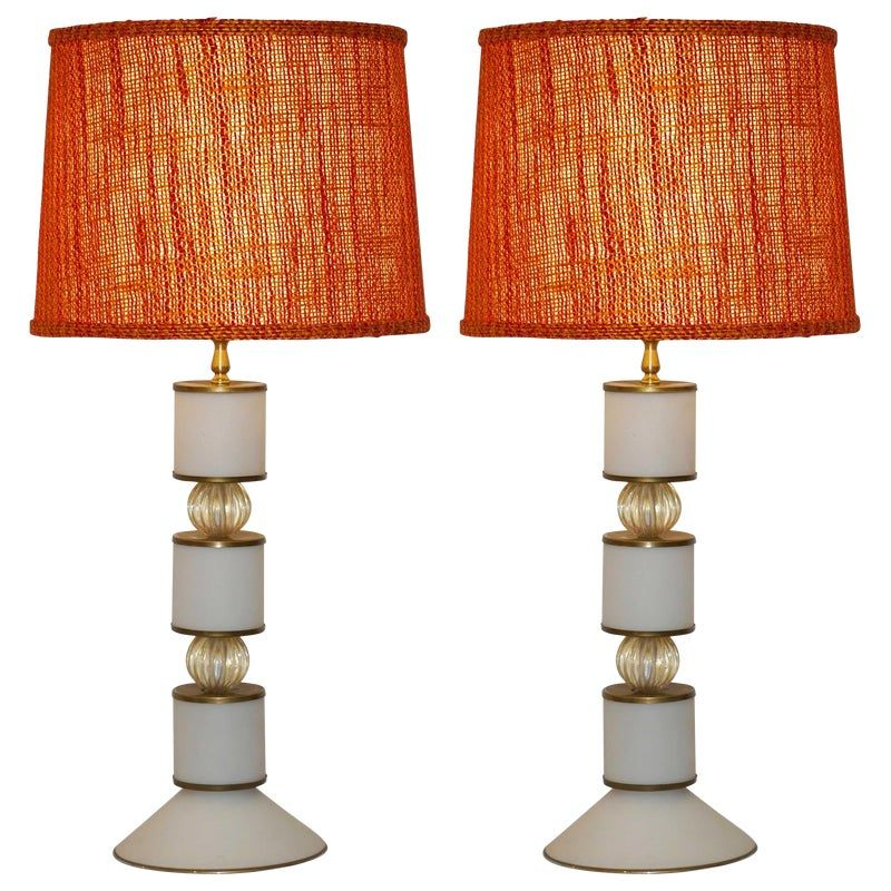 Albarelli 1960s Tall Matte White and Gold Murano Glass Lamps