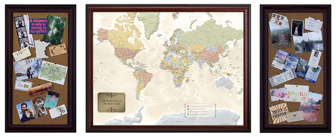 Executive limited edition travel set travel set and products these cork boards are beautifully framed to match your world traveler or united states traveler map gumiabroncs Image collections