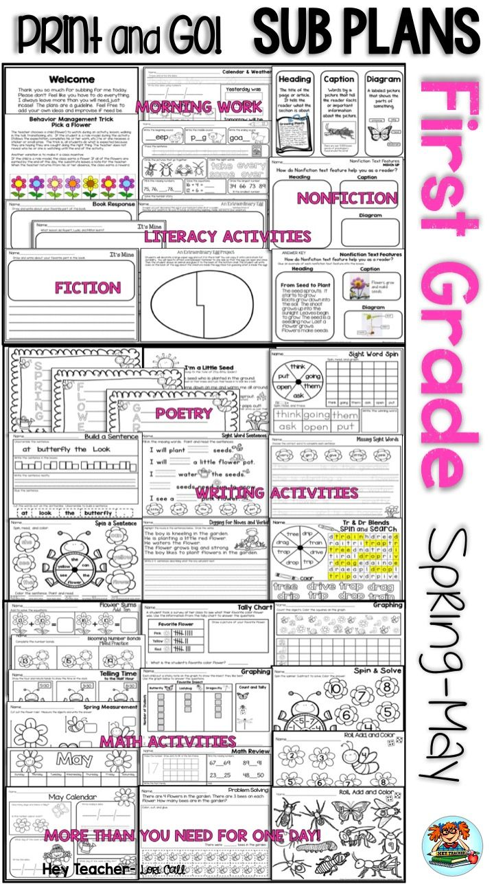 First Grade Substitute Lesson Plans for Spring/May. Printable [ 1287 x 720 Pixel ]