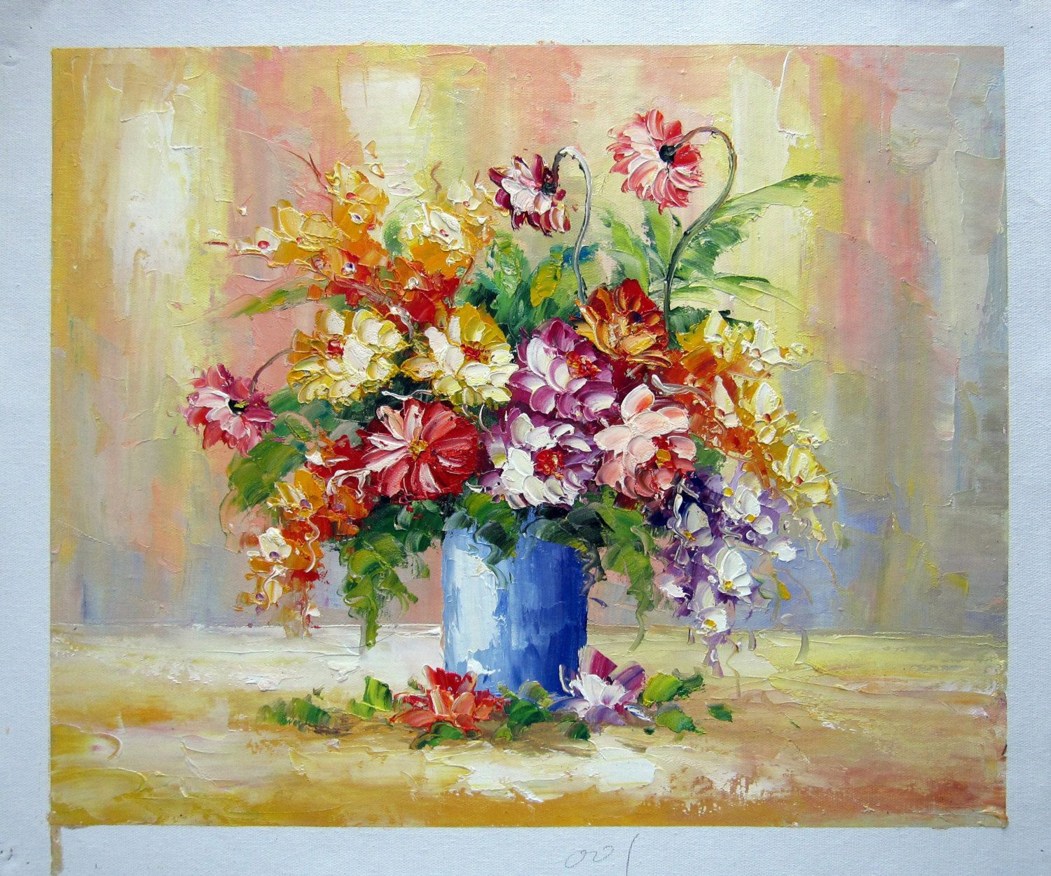 "16"" by 20"" - Flower in vase - Nr.030 - Museum Quality Oil Painting on Canvas Art by Artseasy on Etsy"