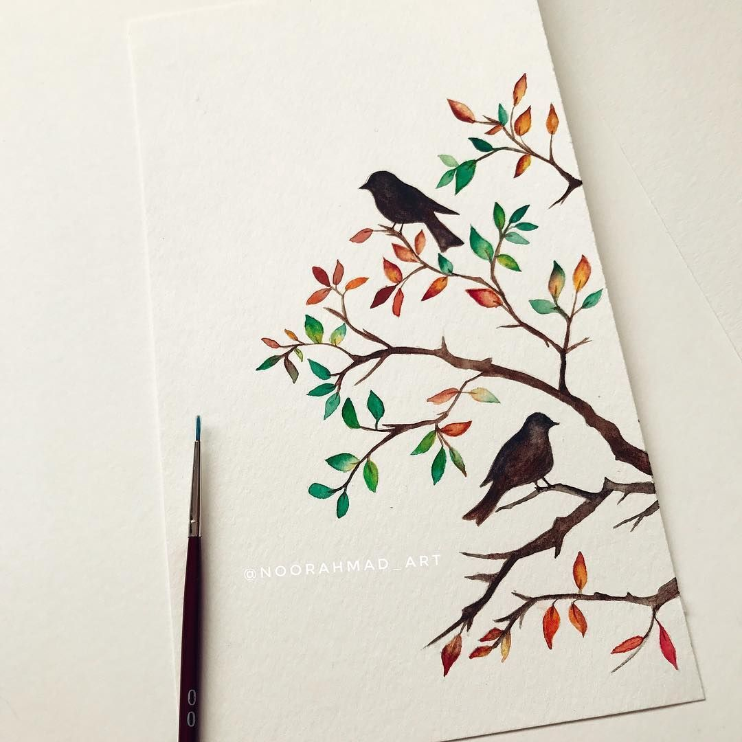 My Fav Season Is Fall Who Else Loves Fall Fall Tree Lovebirds Birds Autumn Art Draw Paint Watercolour Wate Watercolor Art Art Painting Colorful Art