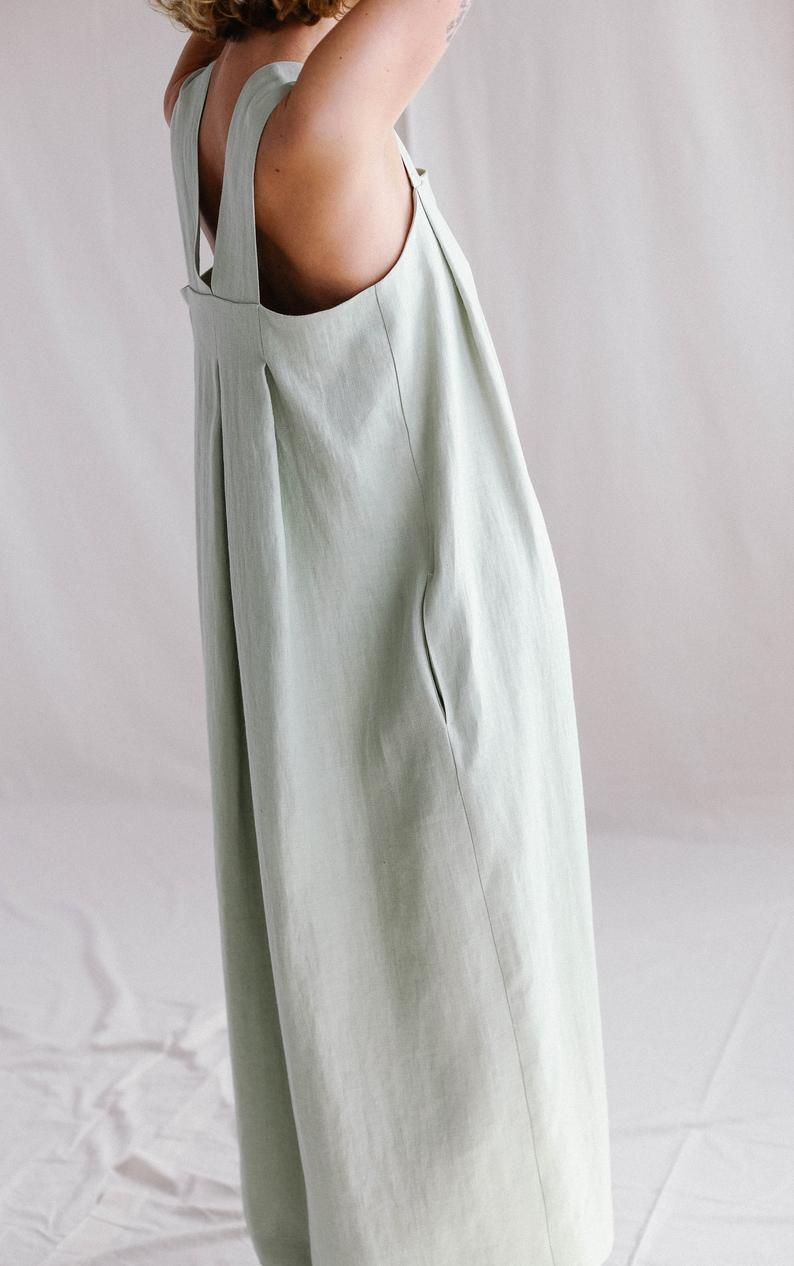 Origami linen dress / Linen loose fitting MAXI dress -   18 fitness Clothes loose ideas