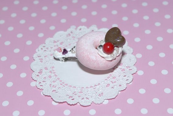 """This adorable, cuties and delicious hair accessories is handmade, sculpted by me is covered whip cream deco den and embellished with different polymer clay charms, the doughnut is made of air dry clay and they are from my new Gitana's Yummies collection, check others delicious items in my shop. This is a unique sweet treat and the best part is non preservative, non calories and is fat free. :)    Measure approximately: Barrette - 3"""" length, Doughnut - 1 3/4"""" diameter"""