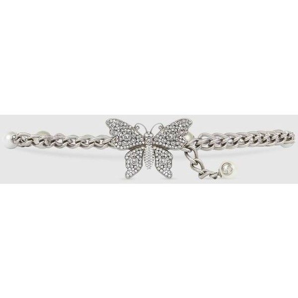 5e78bbbfc1a Gucci Chain Belt With Crystal Butterfly (13 230 ZAR) ❤ liked on Polyvore  featuring accessories