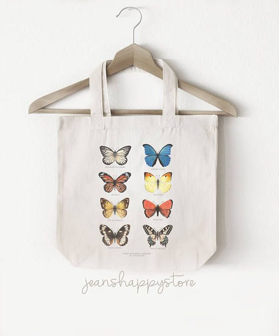 8 Butterfly Species  TOTE BAG Cotton Canvas  Watercolor