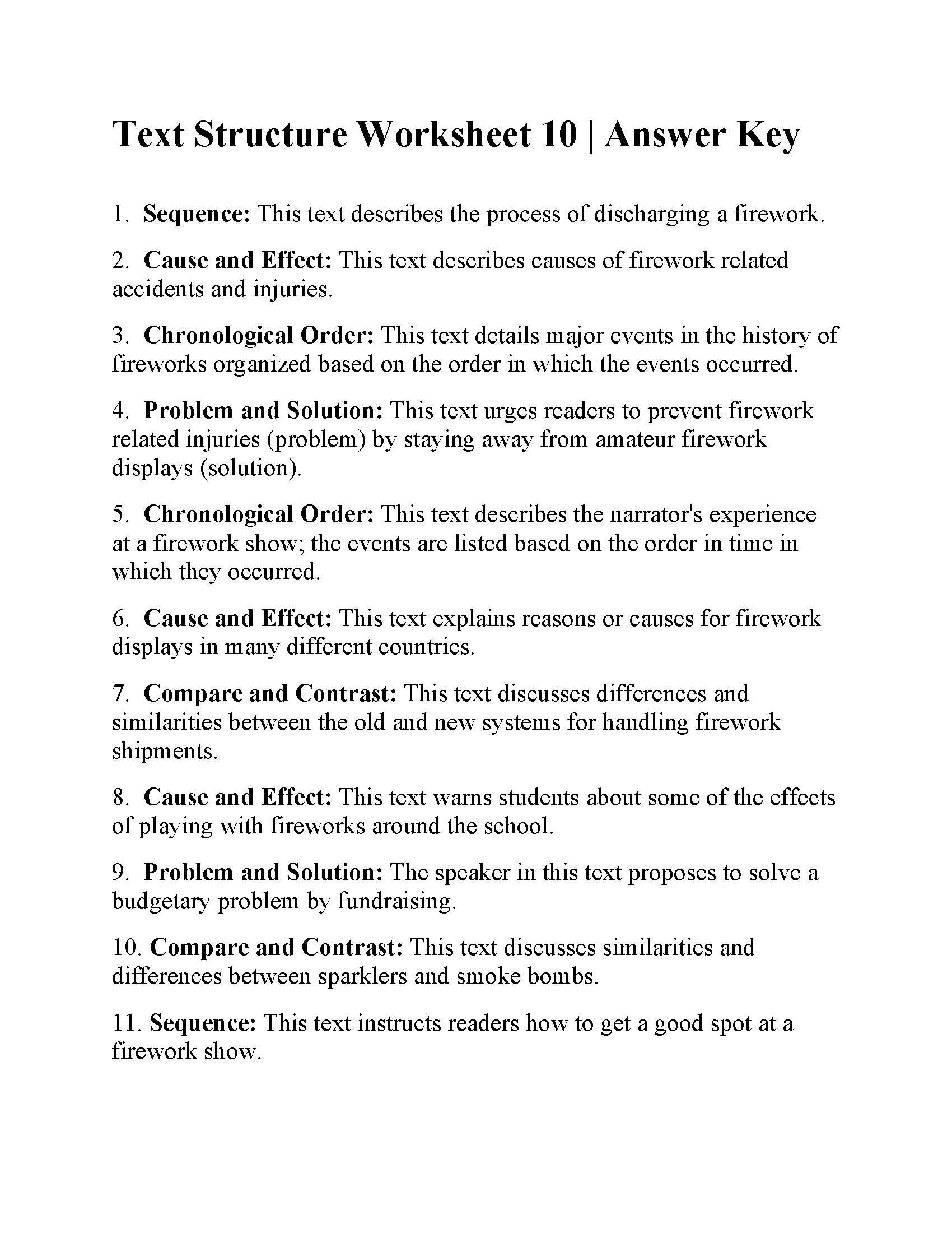 Text Structure 3rd Grade Worksheets In