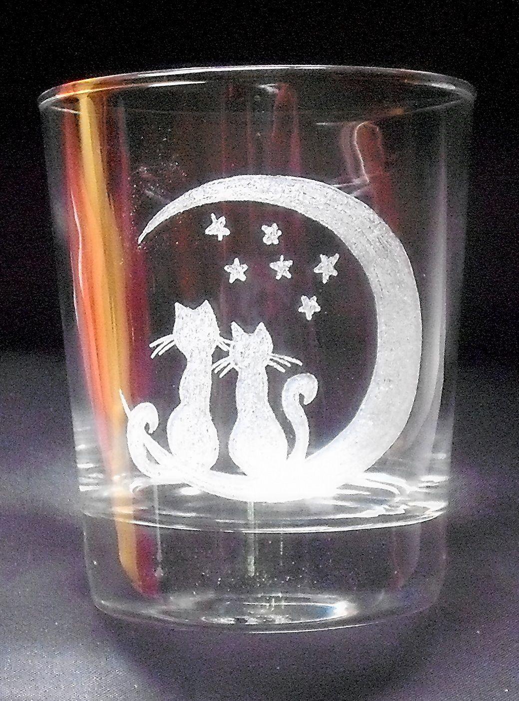 Gravures Sur Verre avec couple de chats au clair de lune. gravure sur verre. | mes