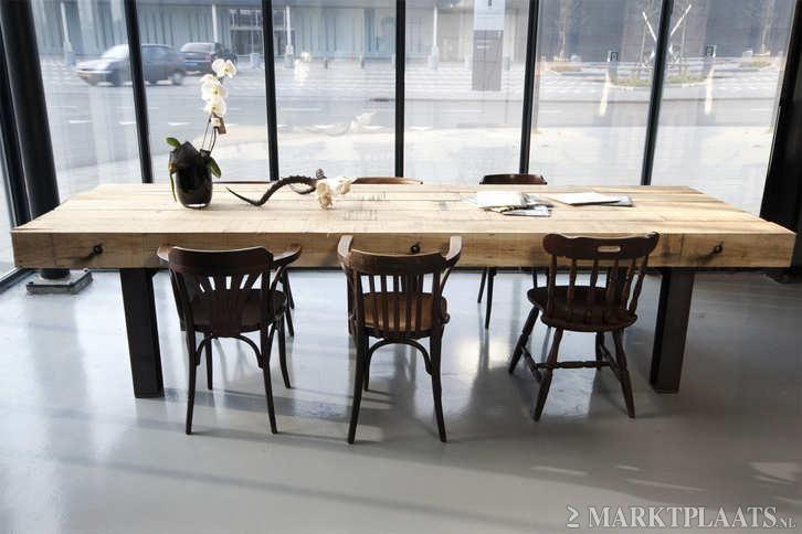 Marktplaats.nl u003e robuuste industriele eikentafel eiken tafel nieuw