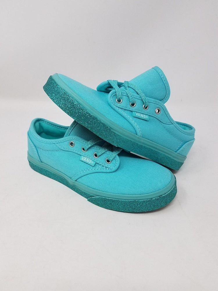 VANS ATWOOD LOW GLITTER AQUA SKY BLUE SKATE ATHLETIC CASUAL GIRLS SIZE 12.5  NWOB  fashion 76ad46fac1f3