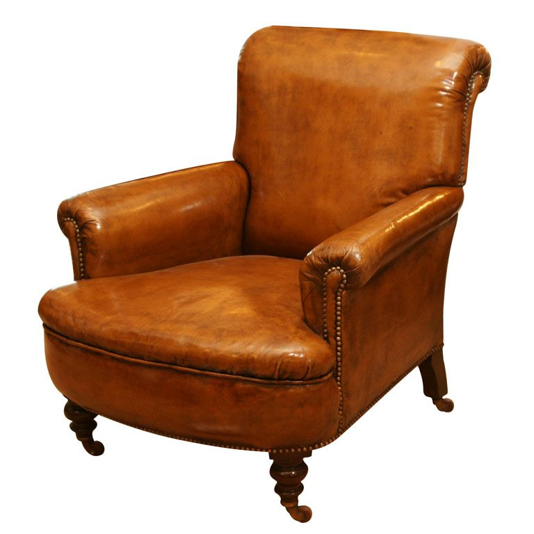 19th century english upholstered leather club chair