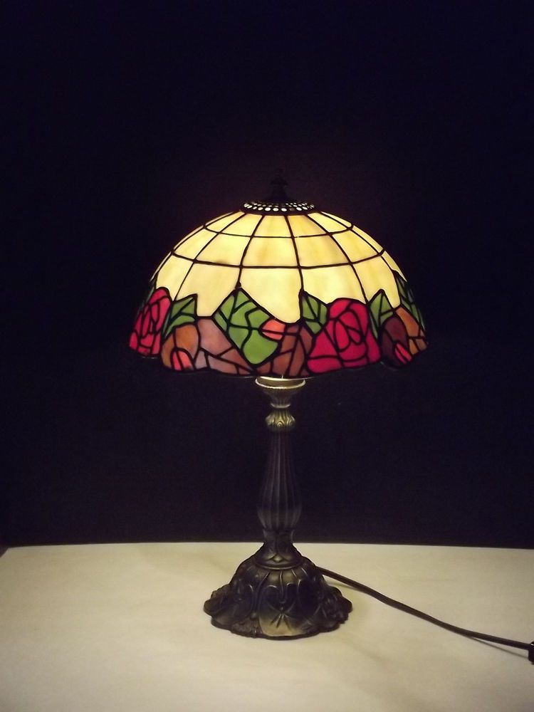 Tiffany Style Stained Glass Look Plastic Shade With Roses Electric