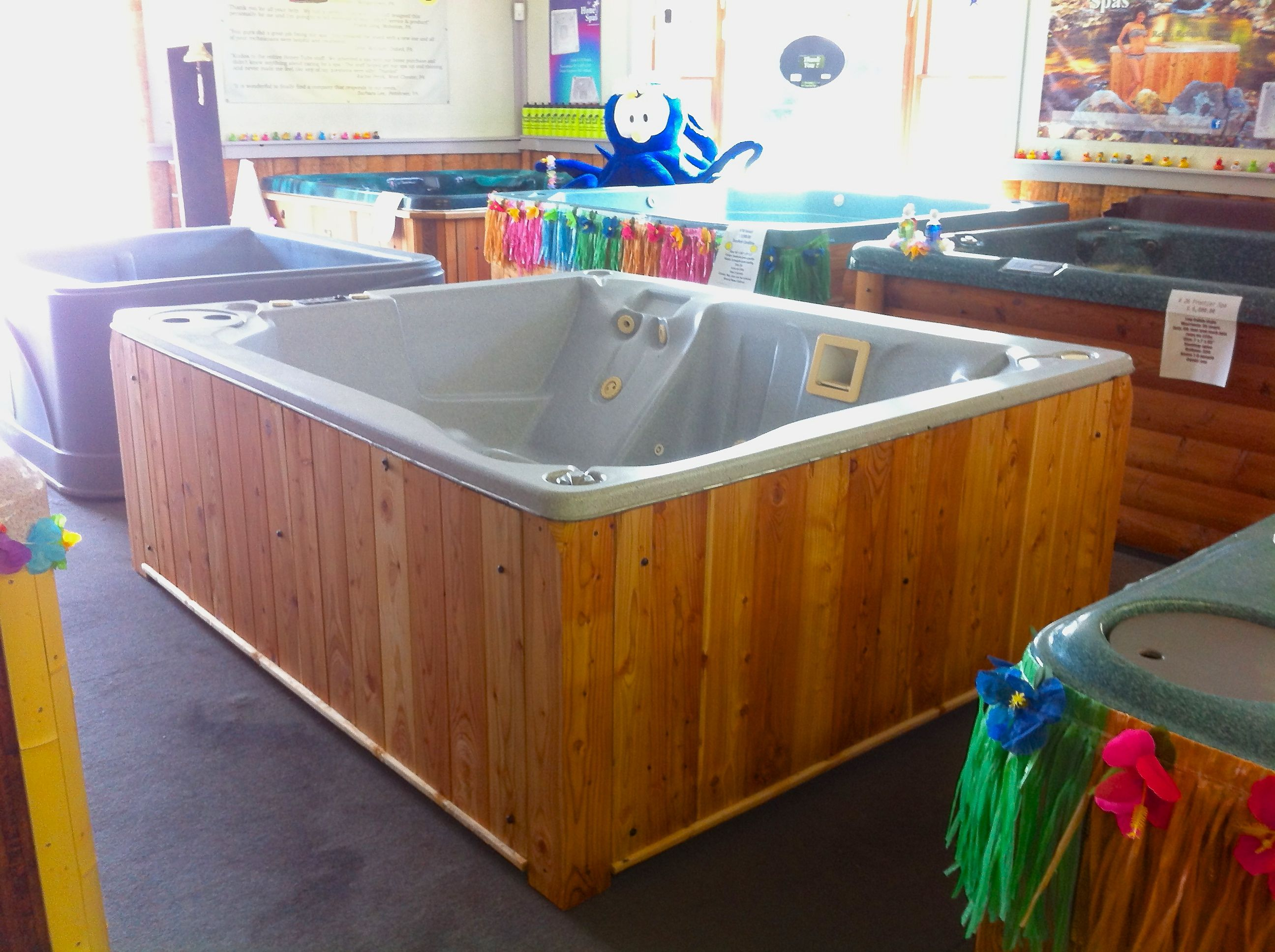 This gray Granite hot tub is for sale only $3,500.00 call Honey Spas ...