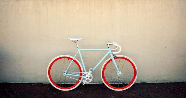 aqua and red bike