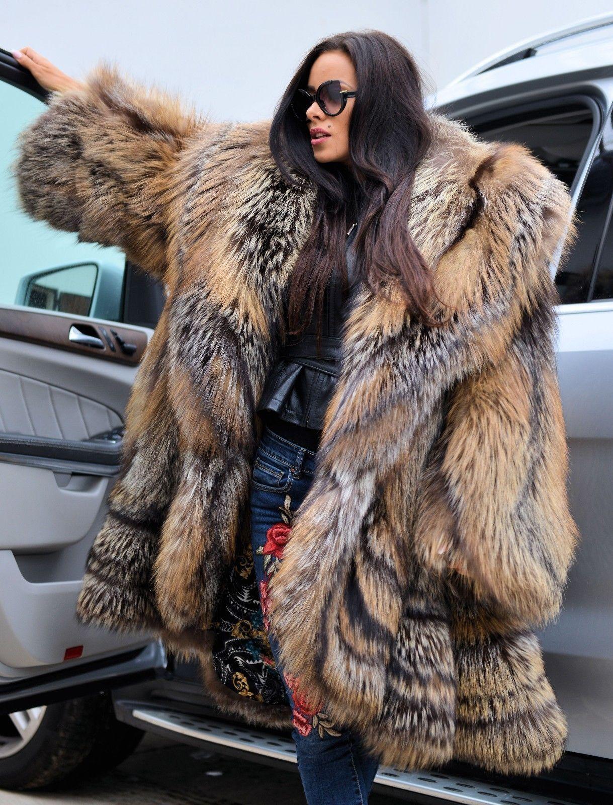 Royal fox fur swinger coat class chinchilla sable mink silver long ...