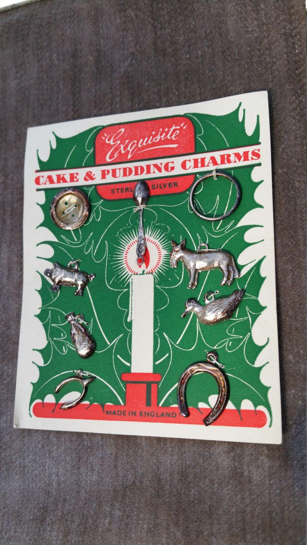 9 Silver Christmas Pudding Charms Vintage Cake & Pudding