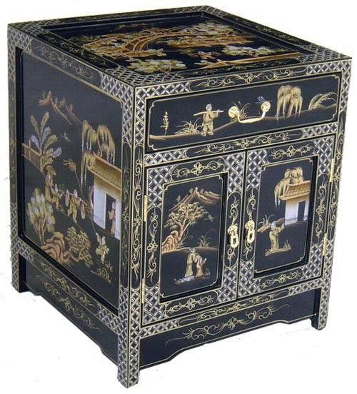 3 Brocante Bijzettafeltjes.Oriental Design Nightstand End Table With Glass Top Village