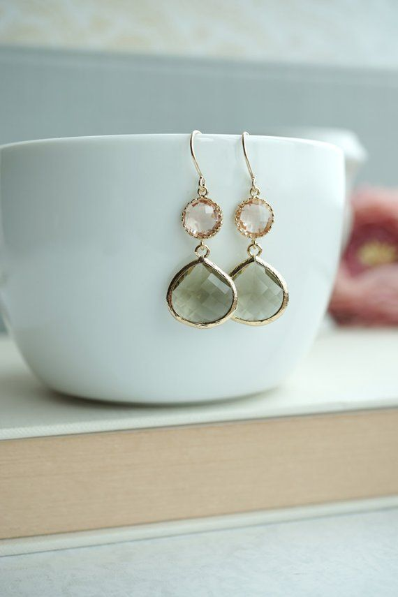 Photo of Champagne Peach, Olive Green Glass Framed Pear Jewel Drop Earrings. Bridesmaid Gifts. Modern Everyday. Maid Of Honor. Green Olive Wedding