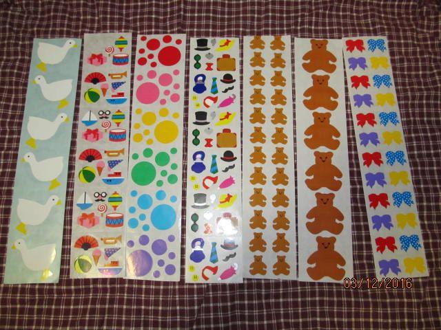 Strip of Foiled Polka Dot Bows Stickers Mrs Grossman POLKA DOT BOWS