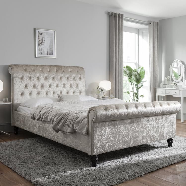 Silver Crushed Velvet Sleigh Bed Frame Double in 2020 ...