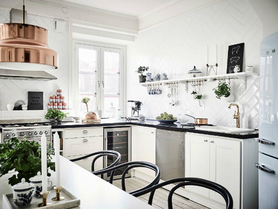 Cocina Con Lamparas De Cobre Comedor Estilo Nordico El Piso De