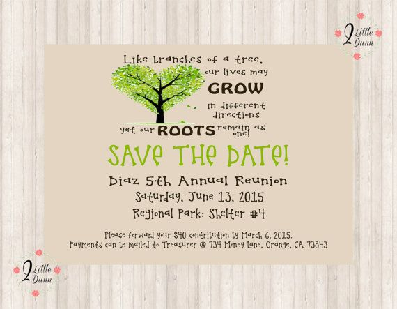 Save The Date Flyer - Family Reunion - PRINTABLE DIGITAL ...