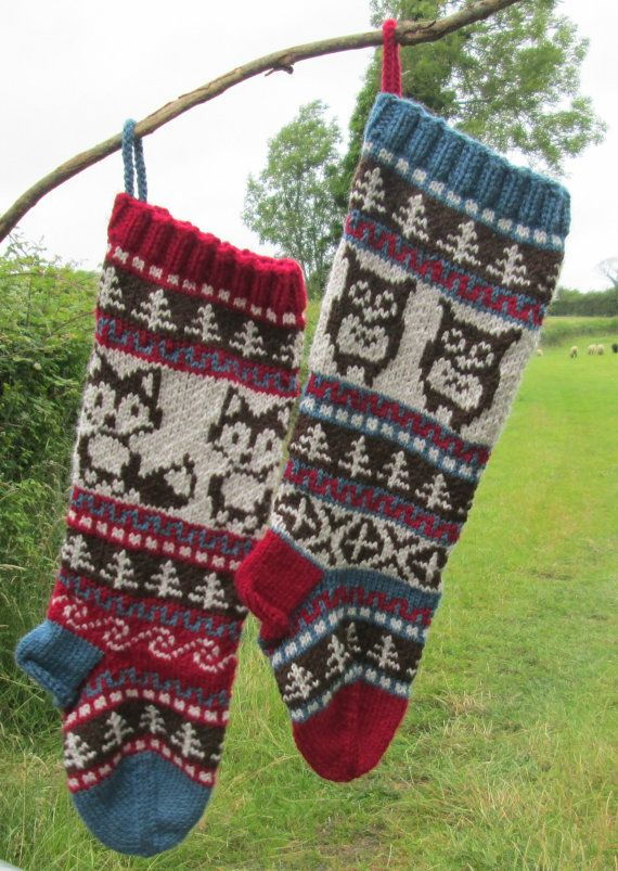 Pattern Owl and Fox Christmas Stockings and Stranded Knitting Fair ...