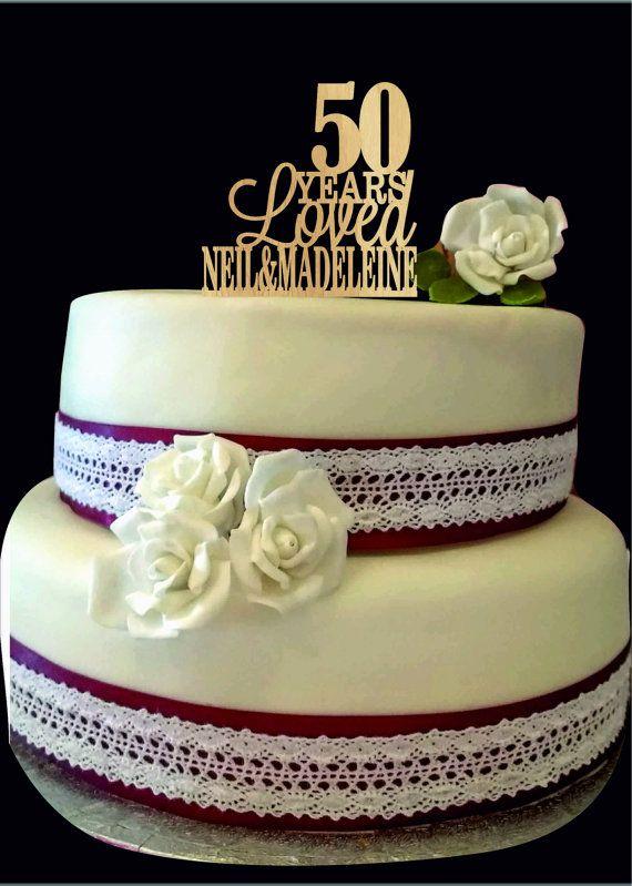 50th Anniversary Cake Topper 50th Birthday Cake Topper Custom