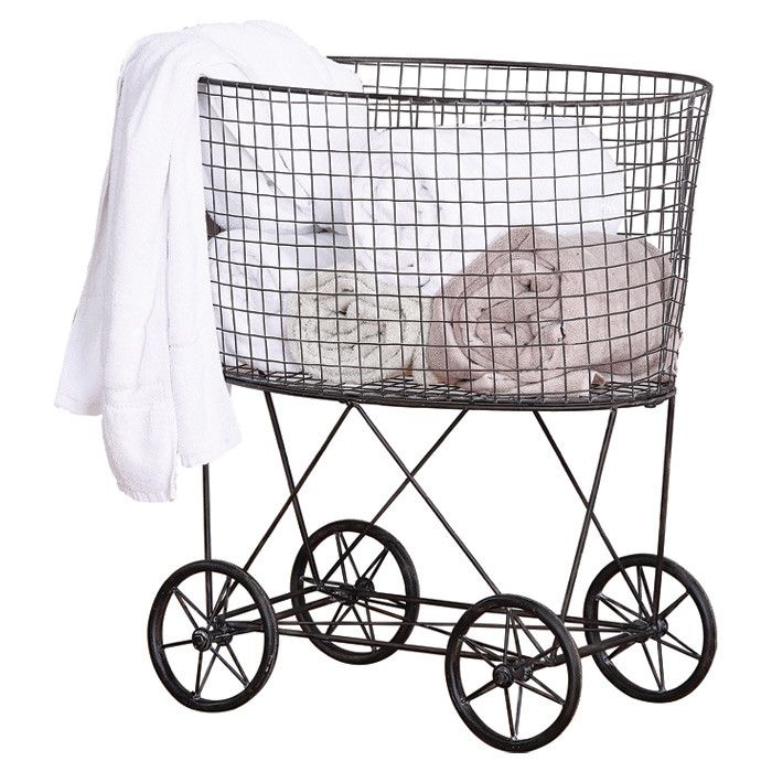 Creative Co Op Casual Country Metal Vintage Laundry Basket With