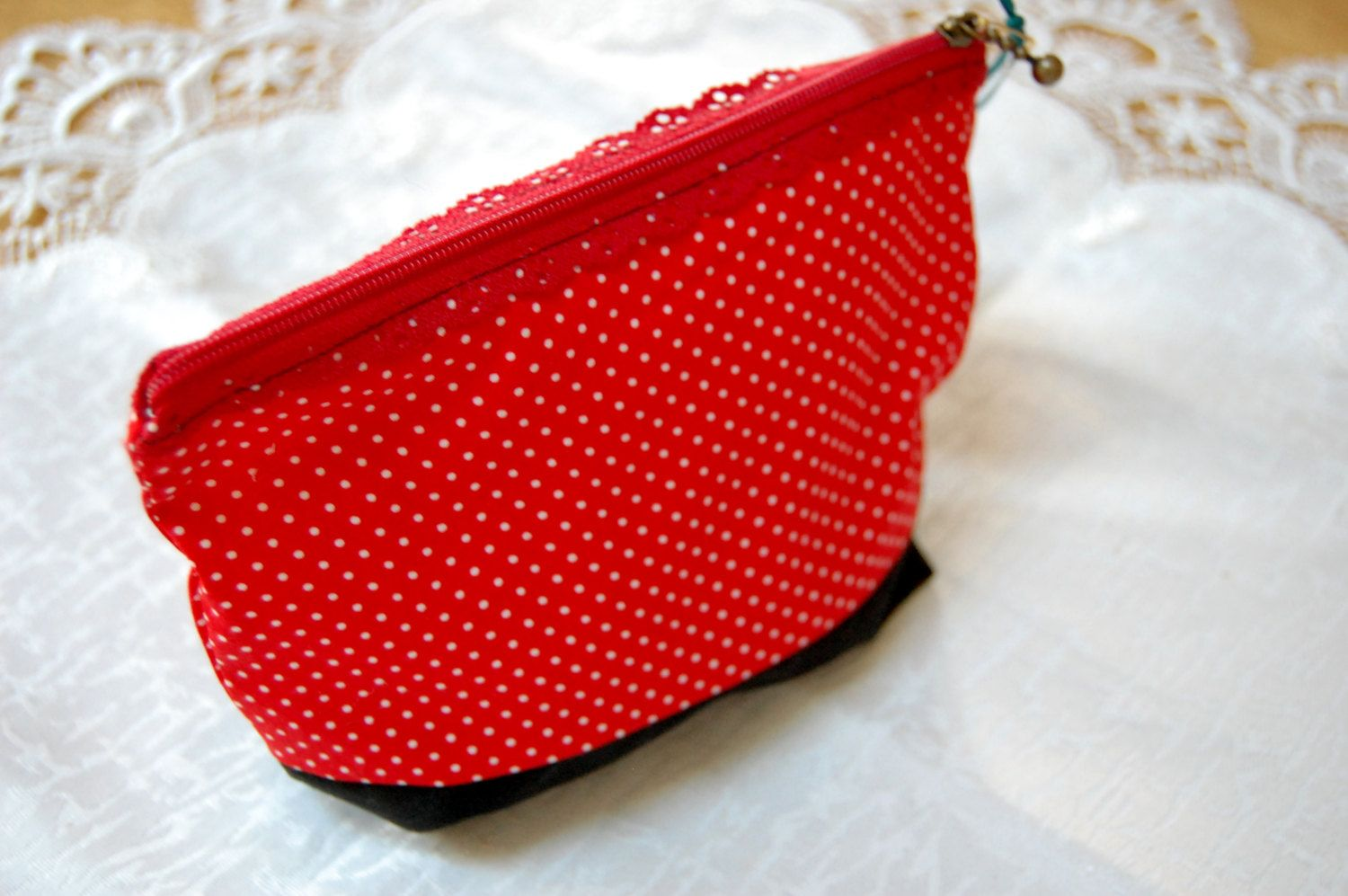 Polka-Dot Eyelet Cosmetic Bags 5x7 by MistyMeadowTreasures on Etsy