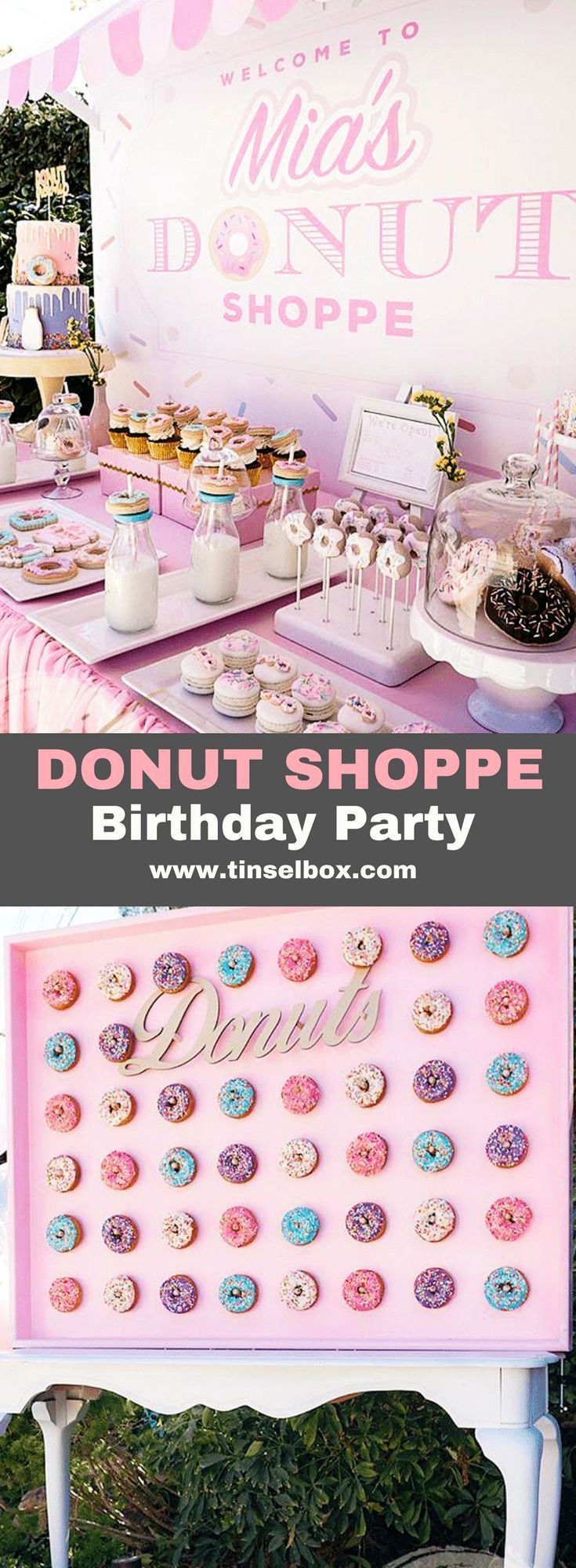 This adorable donut birthday party is filled with sprinkled treats. Find so many great inspirations from desserts to decorations. Including cake, cookies and Rice Krispys shaped like donuts. #donut #kidsparty via @tinselbox_