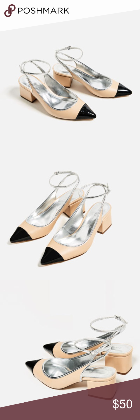 dd40313e093 Contrast Slingback Heels - ZARA Heel shoes in contrasting colors  (beige black). Block heel. Strap and buckle fastening at the back. NWT.