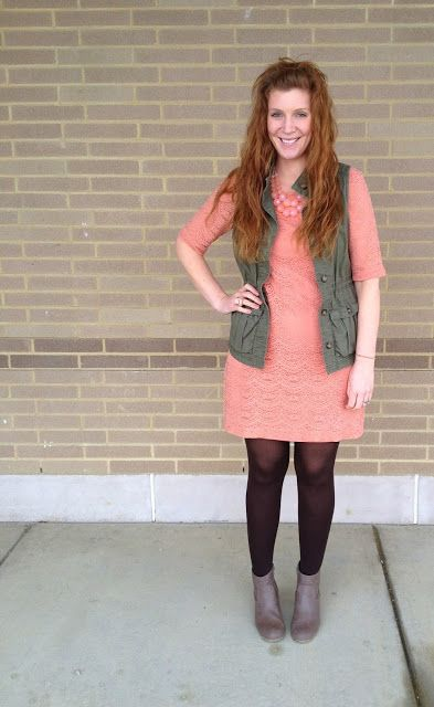 lace dress and army vest; feminine and tough