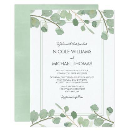 Watercolor Eucalyptus Wedding Invitations Zazzle Com Spring